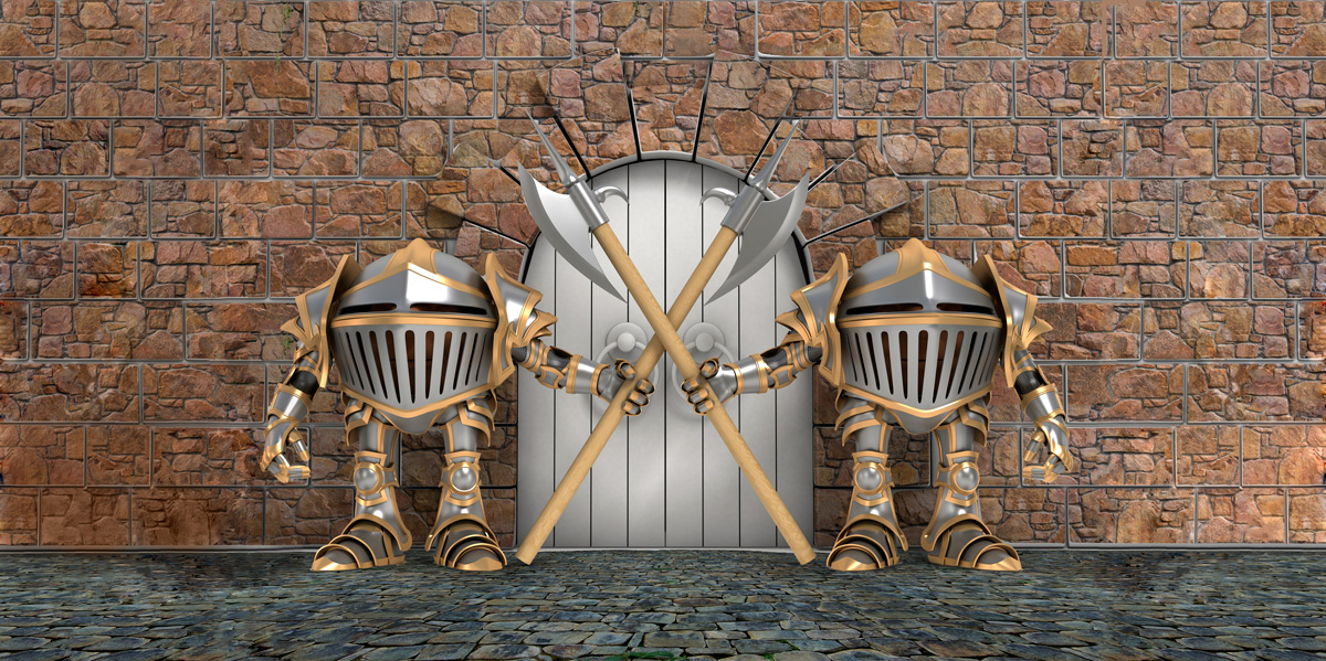 computer generated gate through castle wall guarded by two knight-like figures